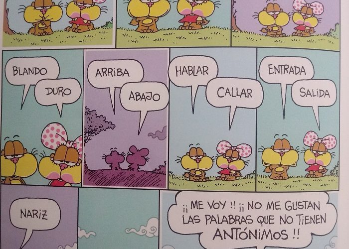 Spanish vocabulary: Humor de Gaturro – antónimos